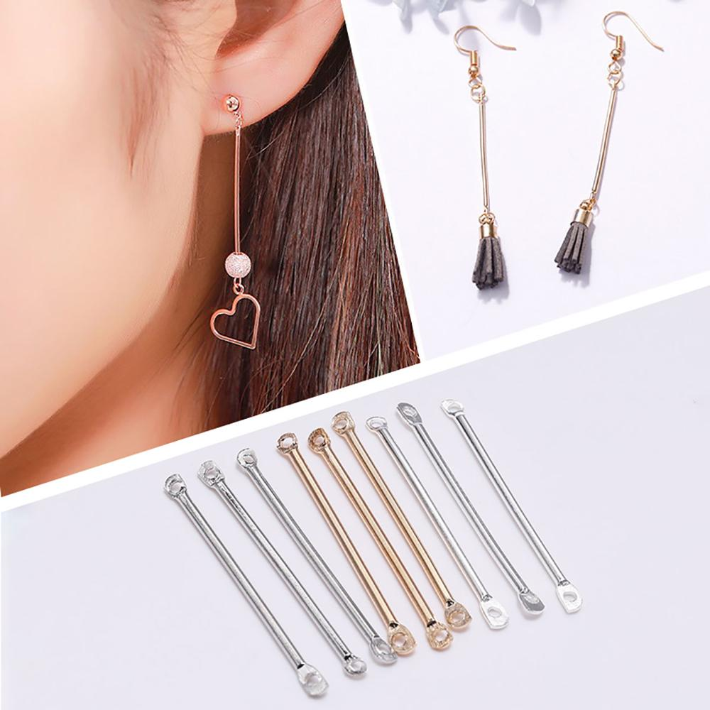 50pcs/lot 15-40 Mm Double Cylinder Rod Metal Earrings Findings Ear Clip Ear Hook DIY Handma For Jewelry Making Craft Accessories