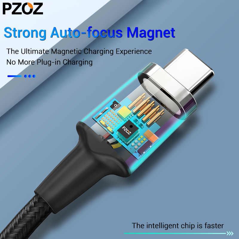 PZOZ tipo C a USB C Cable magnético para el nuevo MacBook Pro Huawei Matebook 100W PD cargador de imán rápido USB-C Cables de cargador rápido