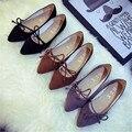La primavera y el verano de la nueva llegada zapatos de las mujeres talón plano en punta correa de la boca baja arco zapatos de un solo dedo del pie zapatos planos femeninos bajo-top