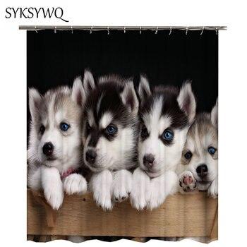 2018 nieuwe ontwerp Husky hond douchegordijn waterdichte stof polyester badkamer gordijn douchegordijn