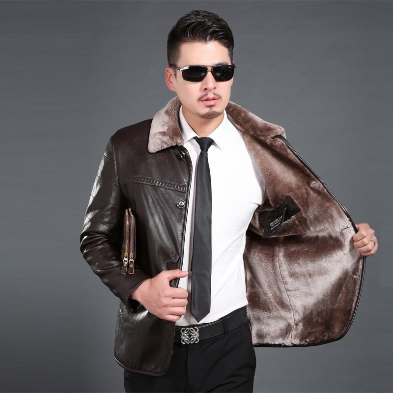 New Fashion PU Leather Jacket Men Black Coffee Champagne Solid Mens Faux Fur Coats Trend Slim Men's Winter Jacket YYJ0052