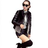 Autumn Winter Women Set Clothes PU Leather Down Cotton Jacket 2018 New Fur Two Piece Suit