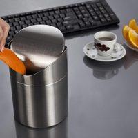 Nueva moda de acero inoxidable basura 16.5 cm * 12 cm mini coche basura ceniza tabla bin cocina de la tapa del oscilación encimera basura puede