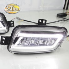 For Ford Everest 2016 2017,With Turning Yellow Signal Relay Waterproof Car DRL 12V LED Daytime Running Light LED Fog Lamp SNCN