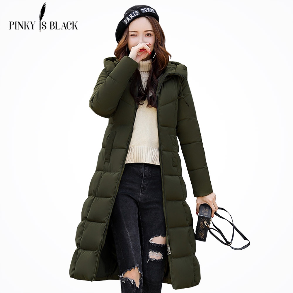 PinkyIsBlack Warm Winter Jackets Women Fashion cotton padded Long   Parkas   Casual Hooded Winter Coat Women Thicken Slim Plus Size