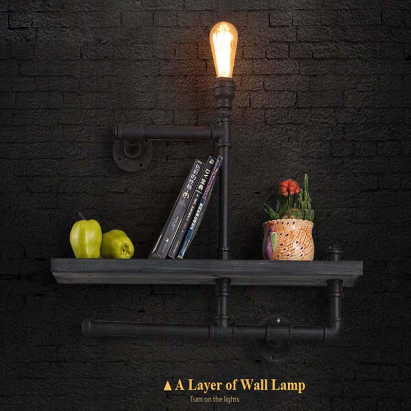Nordic Loft Industrial Wall Lamps One Layers Vintage Water Pipe Wall Lamp Bedroom Bedside Lights Home Decoration Lighting