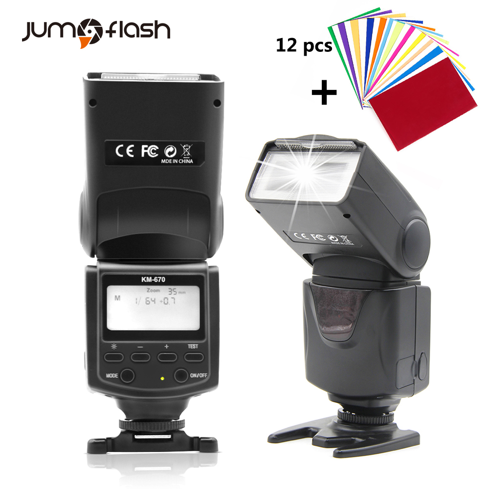 Jumpflash KM670 LCD Screen Camera Flash For Canon 1300D 1200D 760D 750D 80D 5D IV 7D For Nikon 7200D 5500D 5D 610D 750D runco q 750d