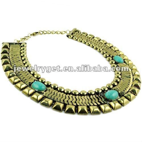 Antique Bronze calaite Green stone Embellished Wide Choker necklace women ,Big Punk Watch Gold Chain Type Necklace ,NL-1657