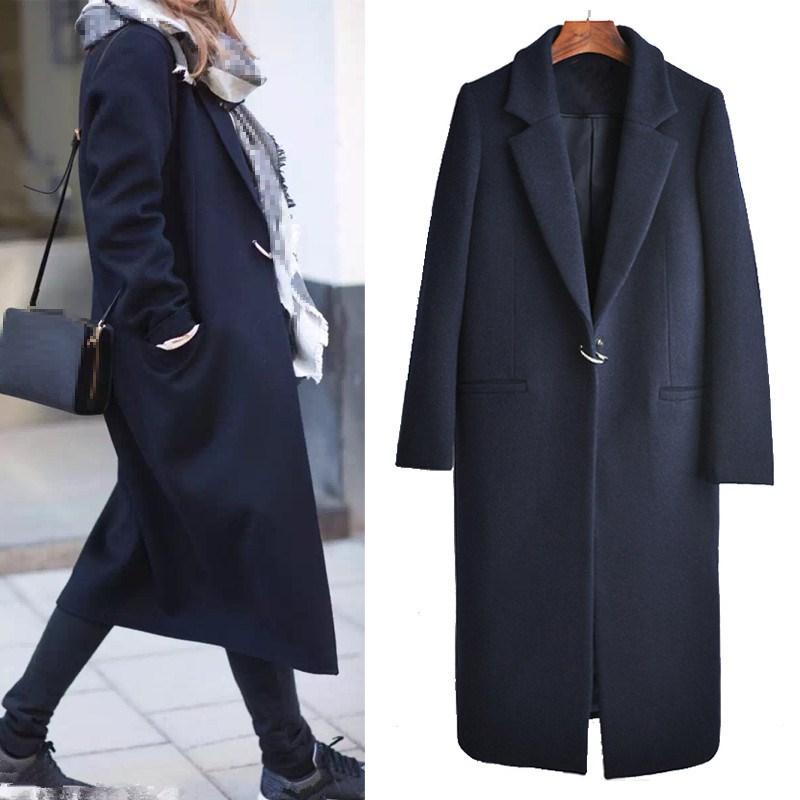 2019 Spring Autumn Women Woolen Coat Fashion Dark Button Long Woolen Coat Female Navy Blue Plus Size Turn Down Collar Outerwear