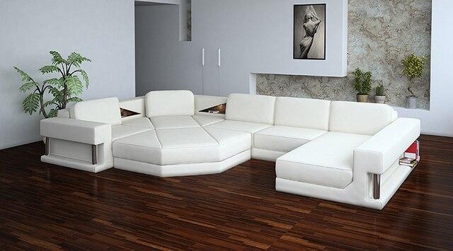 Blanc canapé en coupe à la mode salon canapé moderne en cuir canapé ...