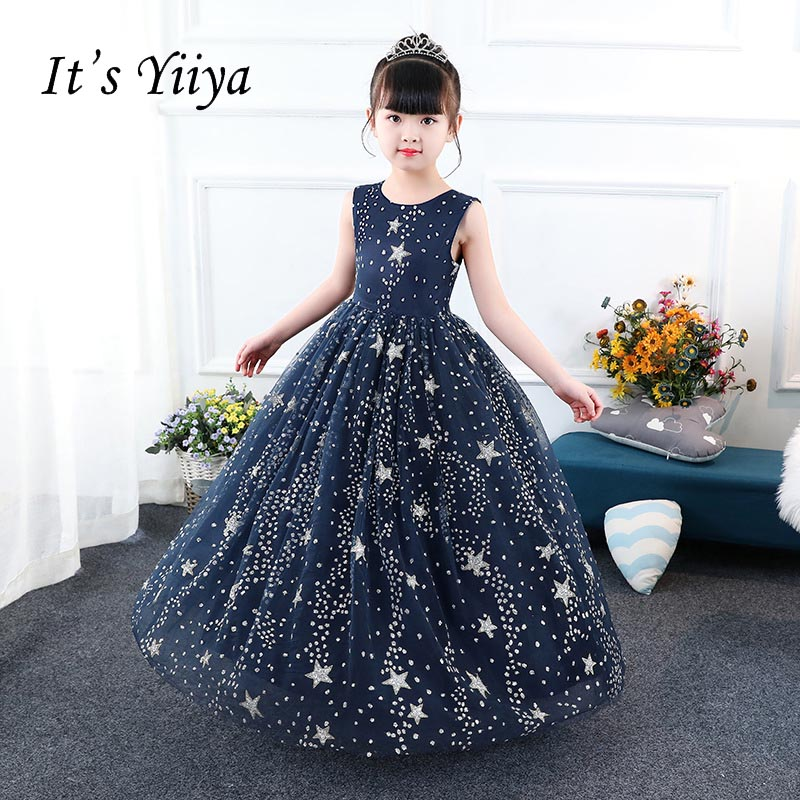 62af5a3b180 It s yiiya O-neck Sleeveless Zipper Bling Star Quality Child Cloth Kid Flower  Girl Dresses