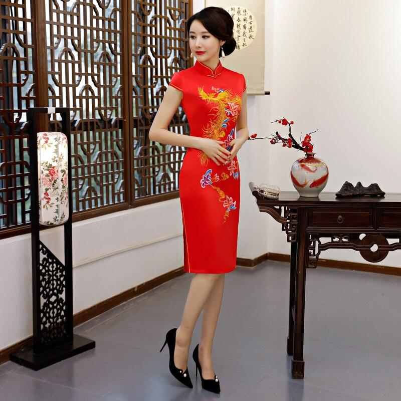 Robes Rayonne Longueur Genou Cheongsam Xxxl De Mode Xxl Chinois L Taille Femmes Xl Court D'été Qipao M 8808 Style Broderie 8807 Robe Mince 8806 BCxWQorde