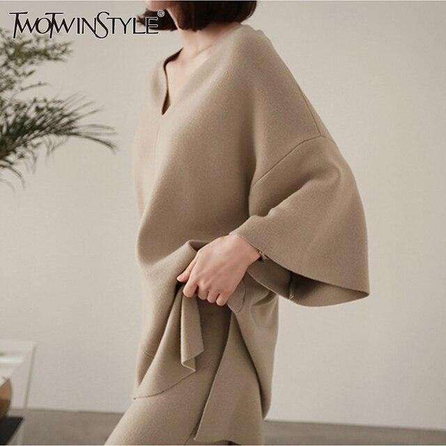 TWOTWINTYLE נשי סריגה סוודר חליפת מכנסיים שתי חתיכה להגדיר סרוג סוודר למעלה חליפה בתוספת מכנסיים רגל רחב מותניים גבוהים של נשים גודל