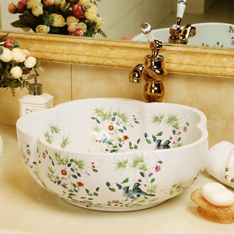 Flower shape countertop bathroom ceramic cabinet basin abstract art ceramic wash basin countertop bathroom sinks