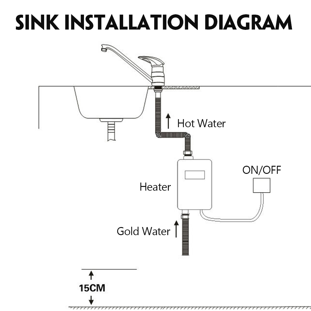 Universal Electric Water Heater Instant Tankless 3800w Shower Wiring Diagram Lcd Digital Temperature For Kitchen Bathroom In Heaters From Home