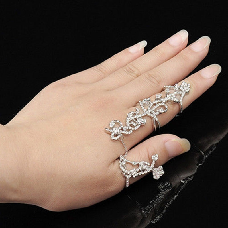 Hot Trendy Punk Gothic Gold Silver Double Full Finger Knuckle Armor Ring Fashion Jewellery Jewellery & Watches
