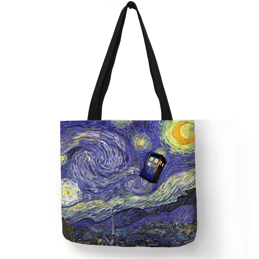 Fashion Handbag Starry Night Painting Van Gogh Tote Bags Women Reusable Shopping Convenience Bags Traveling Beach Folding Bags