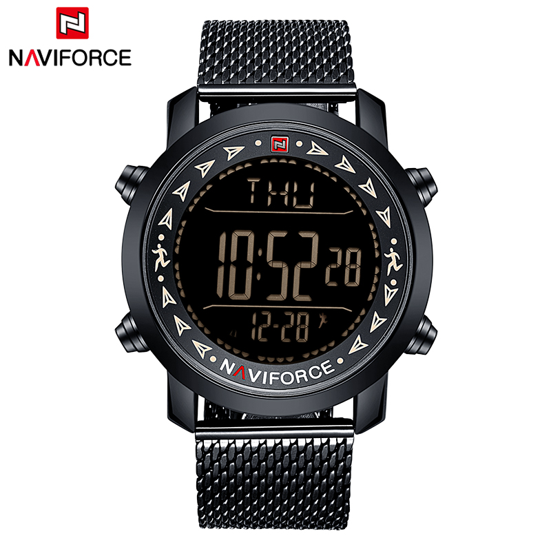 Top Brand NAVIFORCE New Men Full Steel Sport Watches Men's Quartz LED Digital Clock Man Military Wrist Watch Relogio Masculino top brand naviforce nylon band sport watch fashion casual mens military calender clock man quartz wrist watch relogio masculino