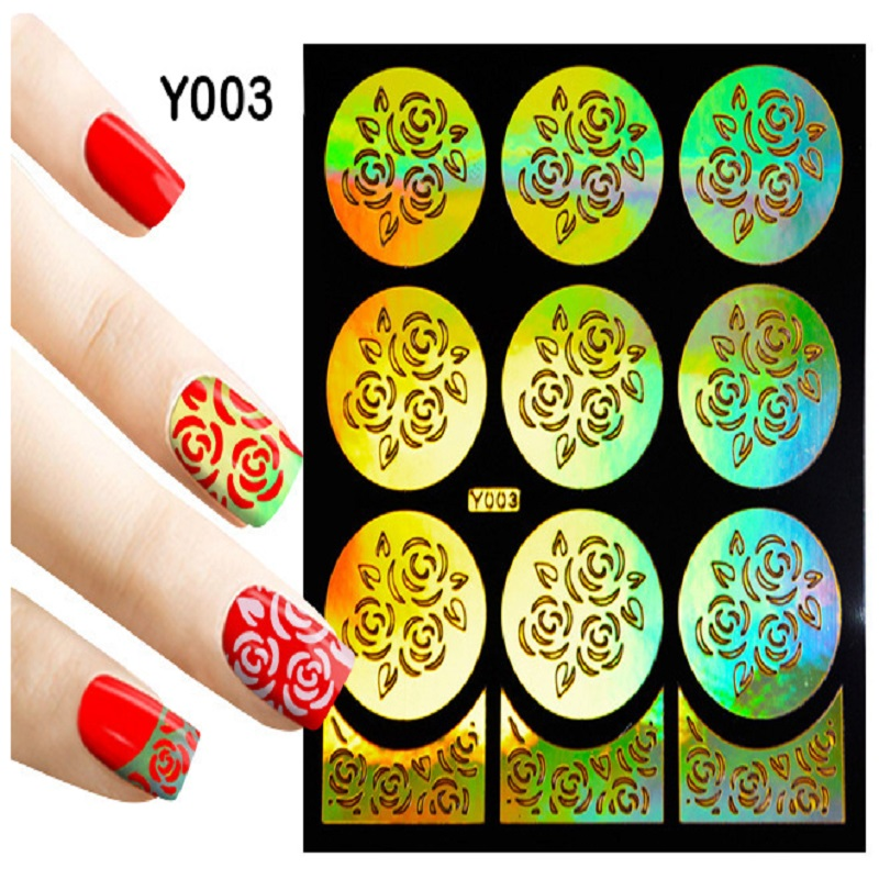 20Pcs Sheet Nail Art Thin Vinyls Hollow Guide Stencil Sticker 20 Styling Polish Gel 3D Laser Irregular Image Decal Manicure Temp 3 designs in 1 sheet laser vinyls nail hollow sticker gold grid irregular patterns tips tool for nail art stencil manicure sa350