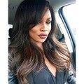 Nueva Natural BlackT #4 color de pelo medium Brown suelta la onda Ombre llena del cordón pelucas de cabello humano con flequillo pelucas delanteras del cordón Glueless