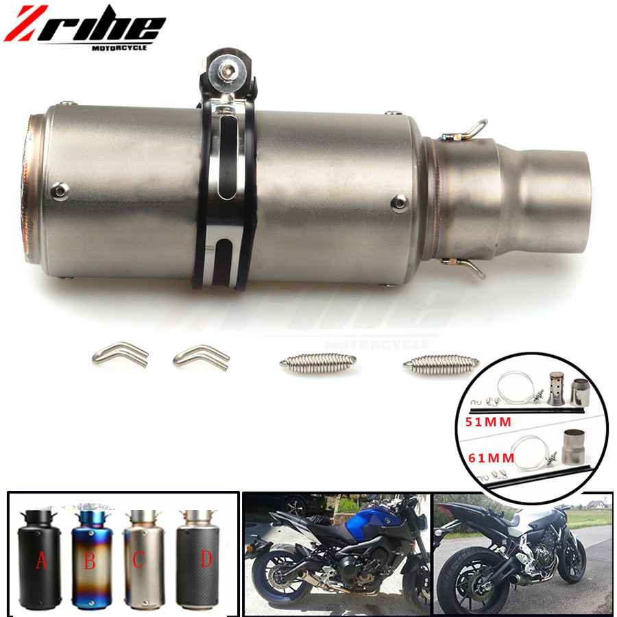 цена на For 36-51 / 61mm Motorcycle Exhaust Pipe Scooter Modified Muffler Pipe Universal For KTM 990 Super Duke RC8 / R 690 Duke 1290 S