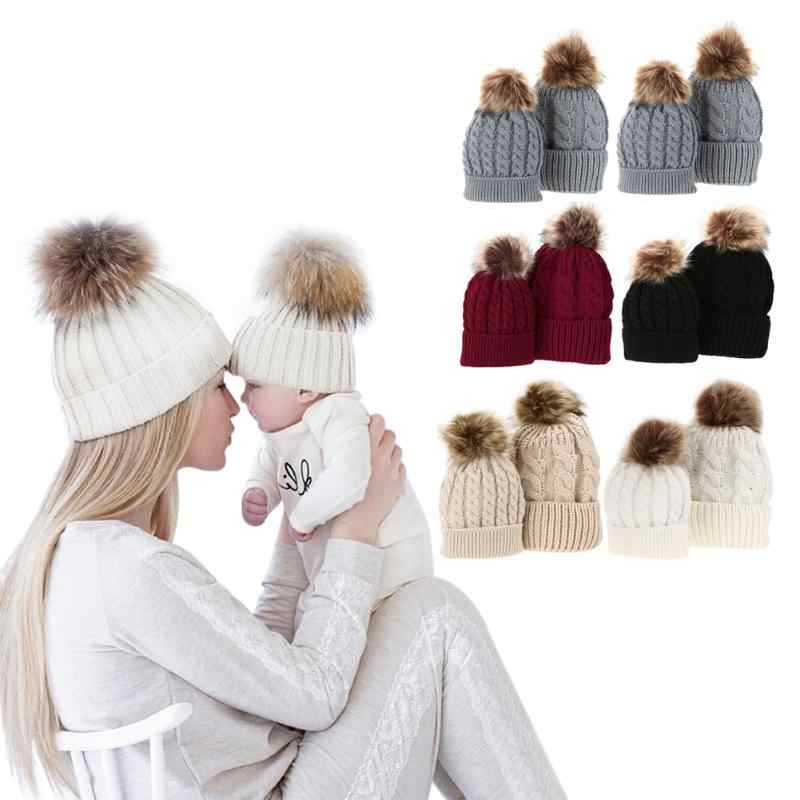 Detail Feedback Questions about Baby Adult Winter Warm Knit Hat Family Matching  Beanie Hairball Kids Cap Mom+Baby Cap with Pompon Raccoon Fur Bobble Beanie  ... f93eea32534b
