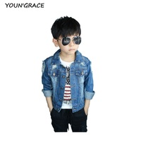 2016 New Design Boys Ripped Denim Jacket Fashion Kids Street Motorcyle Disstrressed Jeans Jacket Boys Spring
