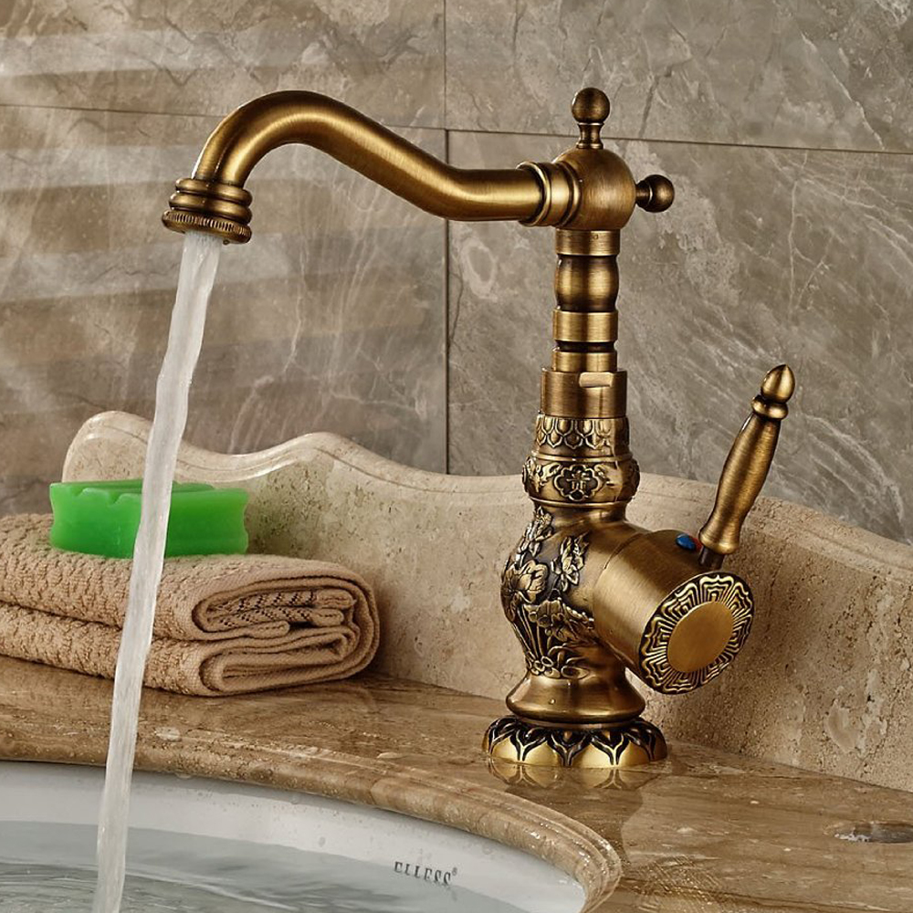 BAKALAHigh Quality New arrivel Deck Mounted Single Handle Bathroom Sink Mixer Faucet/crane/ tap Antique Brass Hot and Cold Water brand new deck mounted chrome single handle bathroom