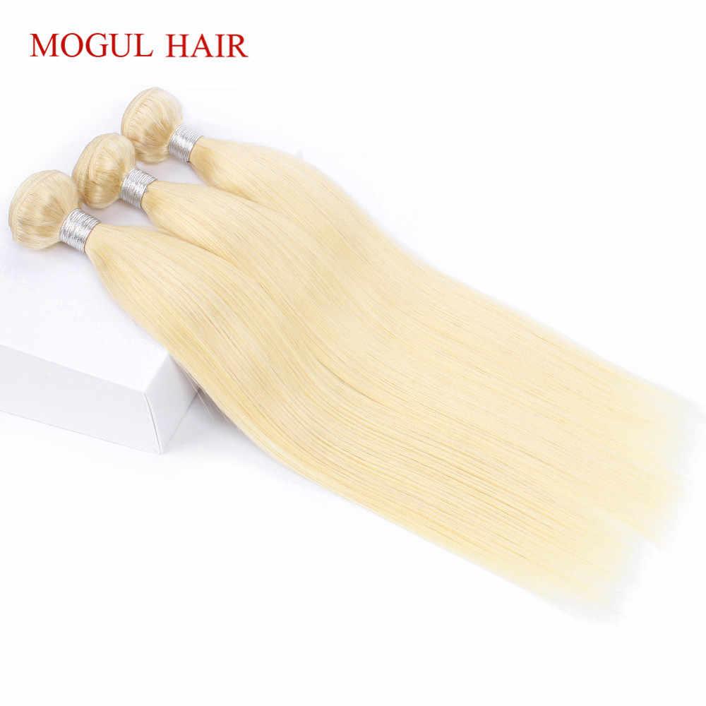 MOGUL cabello 613 paquetes con cierre lejía platino Rubio 2/3 paquetes 10-28 pulgadas indio recto Remy cabello humano paquetes de armadura