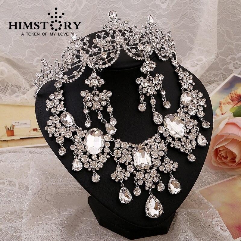 Gorgeous Large European Style Crystal Rhinestones Bridal Wedding Jewelry Sets Headpiece Statement Necklace Earrings 3pcs set