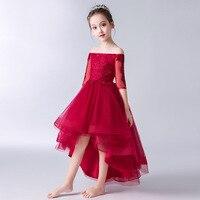 2019 летнее платье для девочек красное платье на одно плечо для подиума на день рождения детское платье принцессы пышный костюм