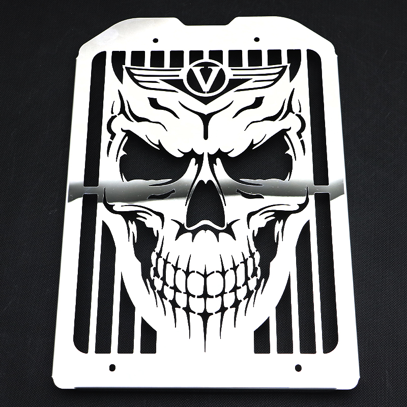 02 08 VN 1500 1600 Radiator Grille Chrome Skull Flame Cover For Kawasaki Vulcan VN1500 VN1600