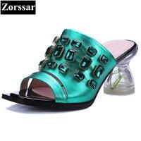 Sommer Frau Schuhe Luxus strass High heels sandalen frauen Rutschen hausschuhe 2017 NEUE Echtem leder womens casual strand schuhe