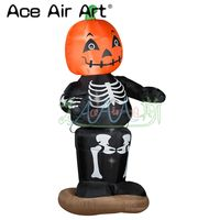 Giant led inflatable Halloween Pumpkin series model,pumpkin skeleton man with stand base for event decoration