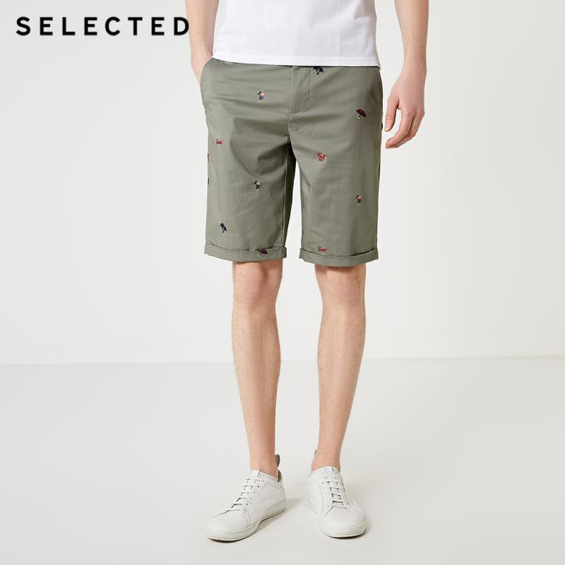 SELECTED Men's Summer Embroidered Straight Fit Knee-high Shorts S|4192SH545