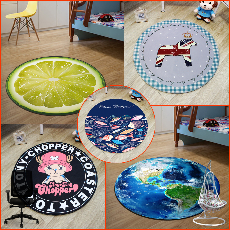 Earth World Map Fruit Funny Cat Cartoon Large Area Rug For Kids Children Bedroom Round Carpet
