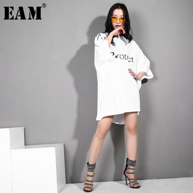 [EAM] 2019 New Spring Summer Round Neck Three-quarter Sleeve Letter Printed Loose Big Size Dress Women Fashion Tide JR132
