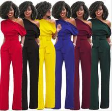Новая Мода с плеча Элегантный Комбинезоны для женщин; Большие размеры Комбинезоны для малышек Для женщин S Комбинезоны короткий рукав женский Комбинезоны для девочек