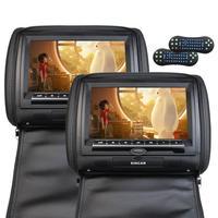ツイン画面9インチポータブルカーdvdプレーヤーリモートコントロールhd液晶dvd cdヘッドレストビデオモニター枕サポートfmトランスミッ