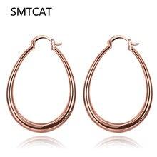 SMTCAT Big Geometry Brand Earrings For Women Trendy Fashion Jewelry Gift Gold Color Stainless Steel Oval Creole Hoop Earrings