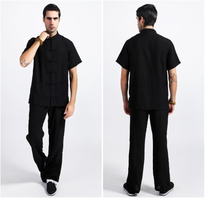 Black Tradition Chinese Style Men s Linen Kung Fu Sets Shirt Pants Trousers Suit Size M