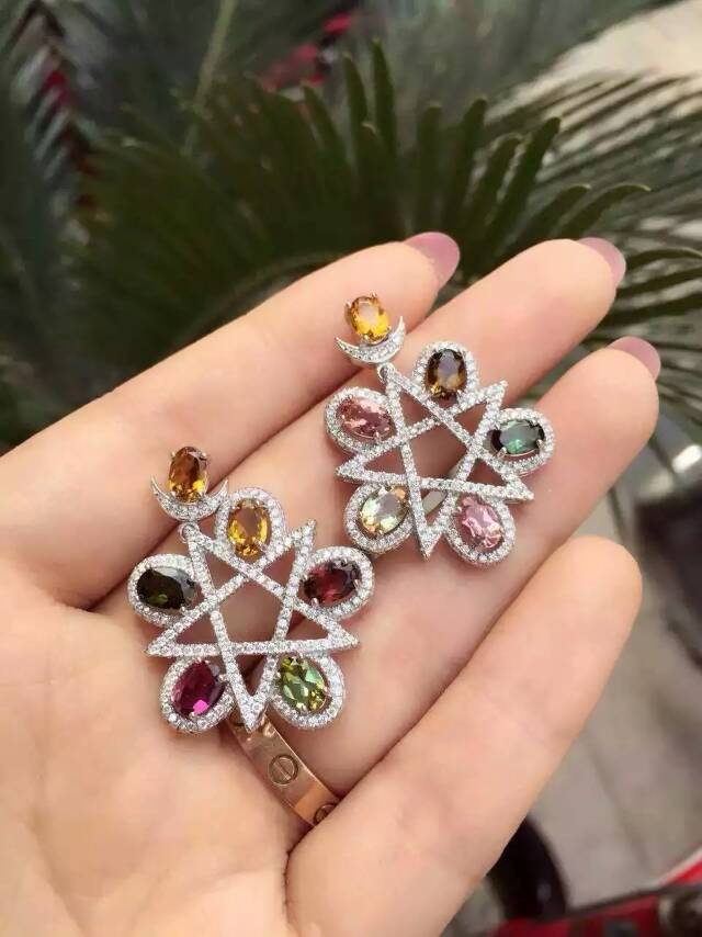 Natural multicolor tourmaline pendant S925 silver Natural Gemstone Pendant Necklace Elegant Personality Star for women party серьги bella bellezza серьги