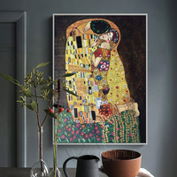 100 Handpainted High Quality Gustav Klimt Painting Reproduction The Kiss Oil Painting Home Decoration Abstract Oil