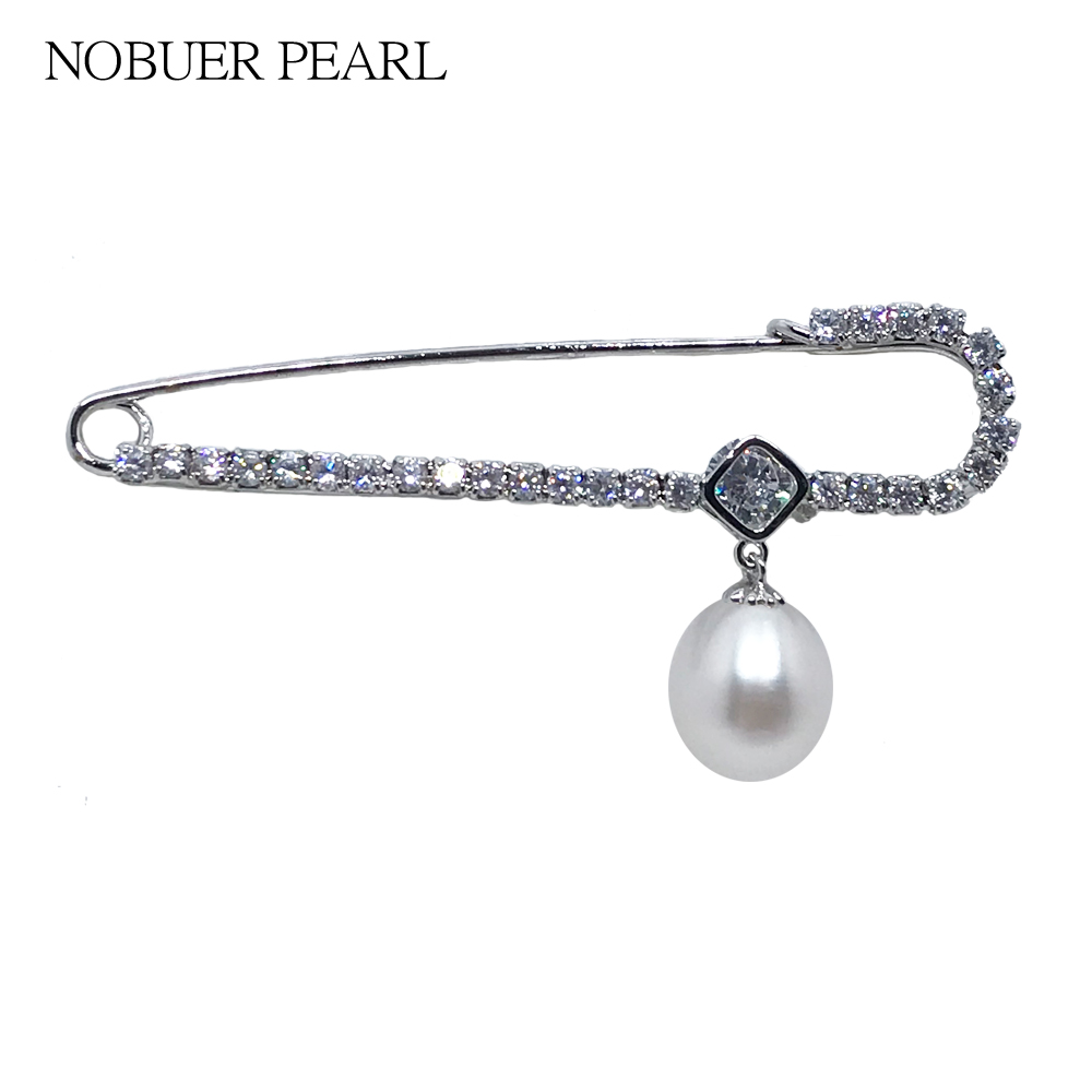 Nobuer Pearl Safety Pins Brooches probes for women Jewelry Pearl Woman Shirt with 9-9.5 Rice type pearl