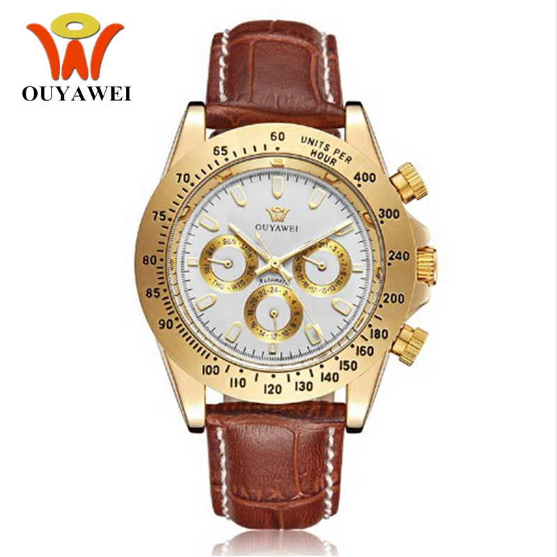OUYAWEI Automatic Self Wind Watch Men Man Hombre Luxury Leather Band Classic White Gold Wristwatch Business Fashion Montre Homme