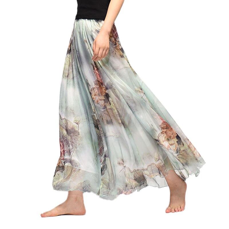 Elegant Summer 2017 Women Long Skirt Chiffon Saia Beach Bohemian Maxi Skirts High Waist Tutu Casual Vestidos Harajuku Print vacation
