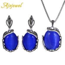 Ajojewel Big Opal Stone Blue Jewelry Sets For Women Luxury Earrings Necklace Set Party Wedding Bridal
