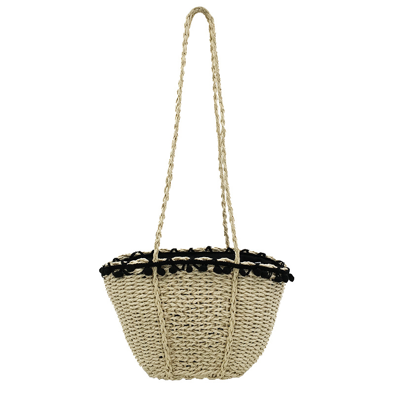 REREKAXI New Bohemian Beach Bag for Women Cute Handmade Straw Bags Summer Grass Handbags Drawstring Basket Bag Travel Tote 3