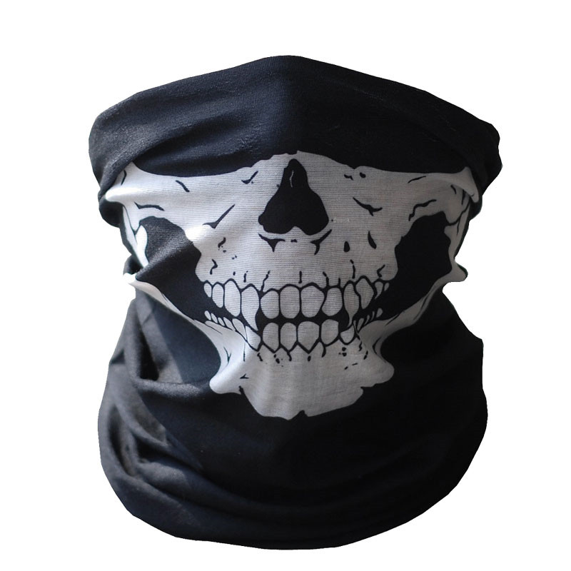 Black Skull Mask Bandana Bike Motorcycle Helmet Neck Face Mask Half Face Paintball Ski Sport Headband Military Game Masks image
