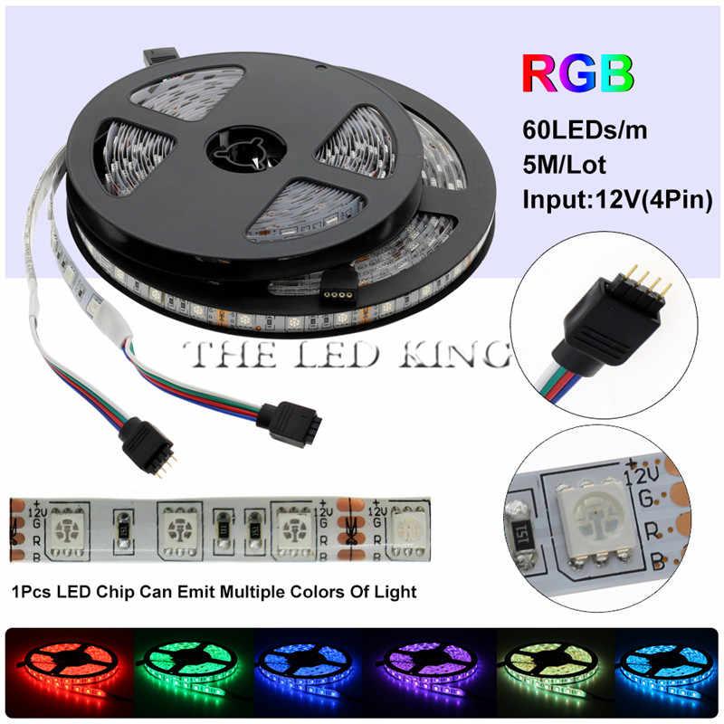 5050 RGB Светодиодная лента Водонепроницаемая DC 12V 5M RGBW RGBWW Светодиодная лента Гибкая с мощностью 3A и пультом дистанционного управления